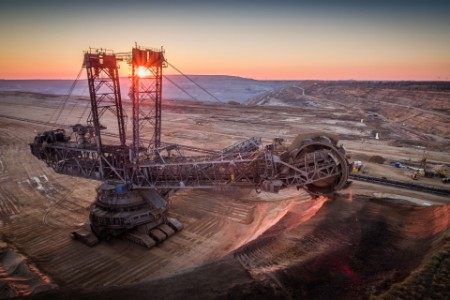 Lignite surface mine with a giant bucket wheel excavator
