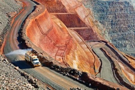 Water truck dampens road Kalgoorlie Gold Mine Western Australia