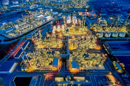 aerial top view Oil refinery night thailand