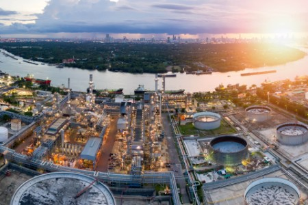Aerial view at dusk of oil refinery bangkok thailand