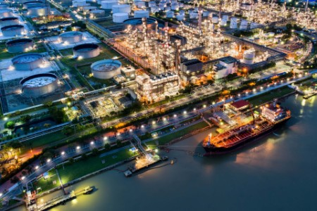 Oil refinery industry plant aerial view night