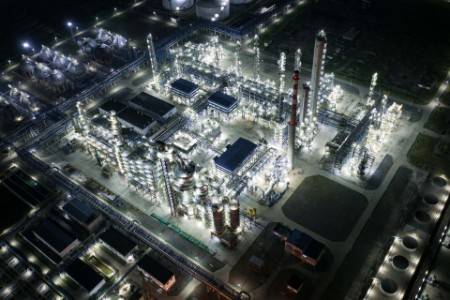 Oil refinery night china
