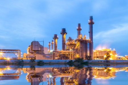Thermal power plant for industrial estate sunset twilight