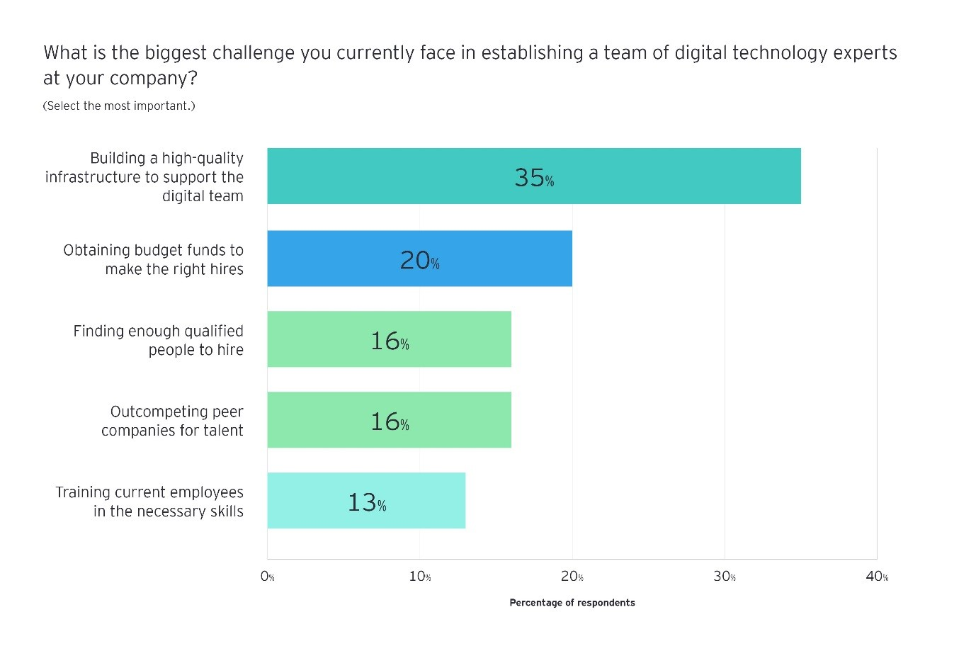 what is the biggest challenge you currently face in establishing a team of digital technology experts at your company