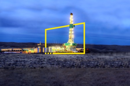 Drilling Fracking Rig at Night