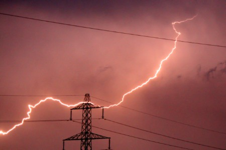 Lightning bolt hits electricity pylon