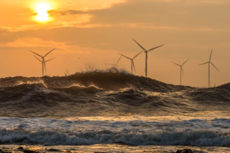 Wind turbines at sunrise off the north east coast image