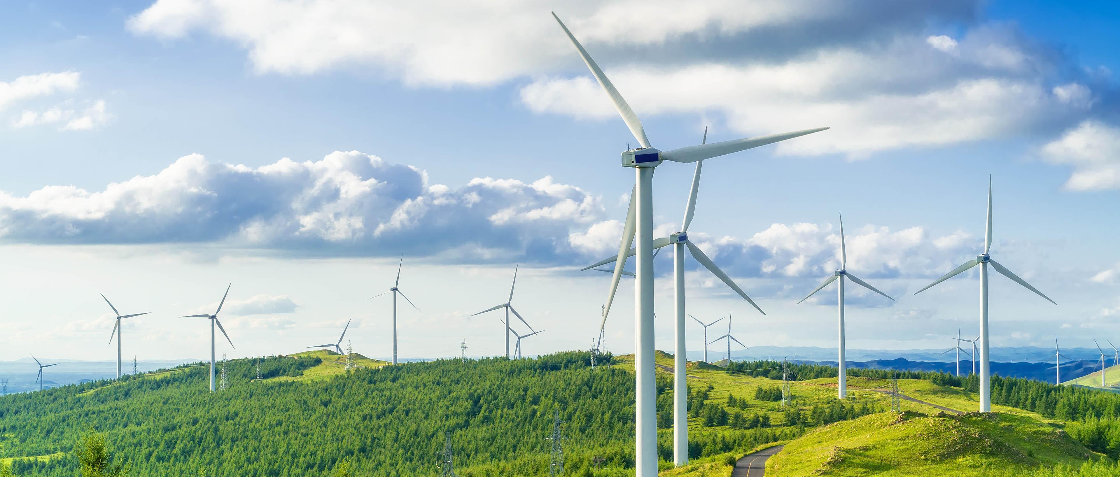 Turbinas de viento en campos en verdes colinas