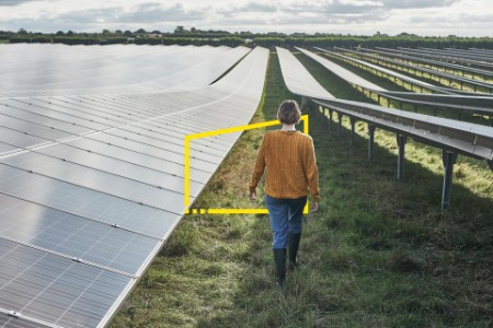 Young female farmer walking through solar farm