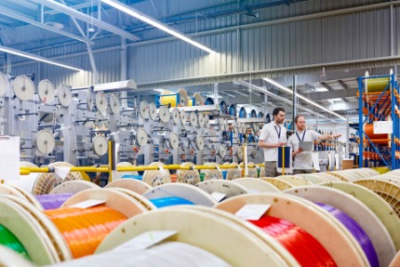 checking inventory multicolor spools fiber optics factory