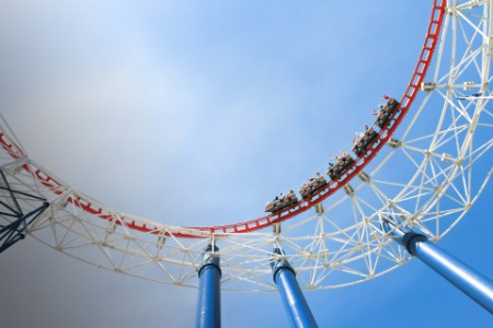 Low angle image of a roller coaster