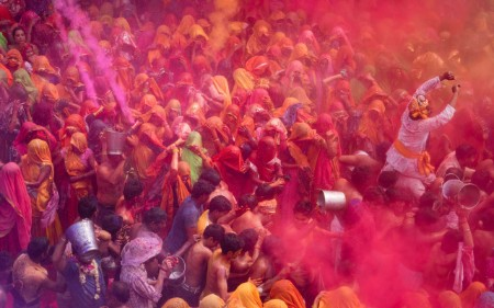 Group of people celebrating Holi