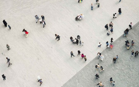 People in a town square seen from above
