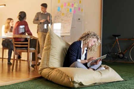 person beanbag workplace