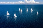 Regatta sailboat and catamaran in Mozambique channel