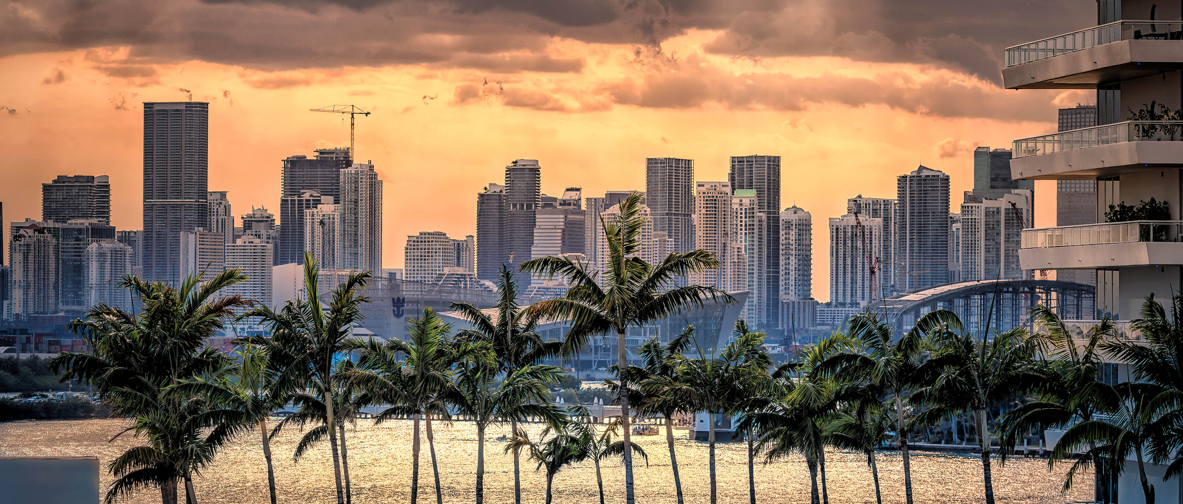 Sunset with crepuscular rays over downtown, Miami