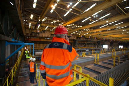 Inside view of British Steel's plant