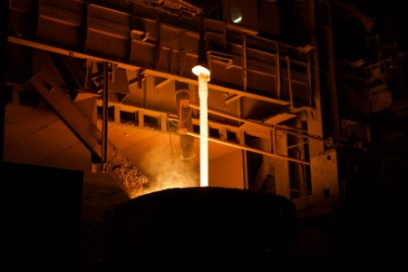White hot liquid in the blast furnaces