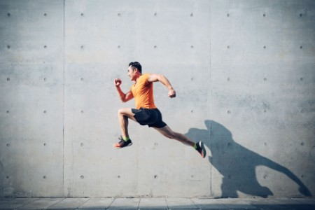 Man running leaping