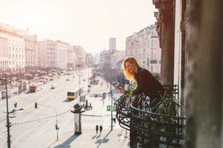 ey woman on balcony
