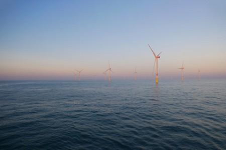 German wind turbines in offshore wind farm in north sea