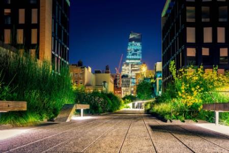 High line park at night New York