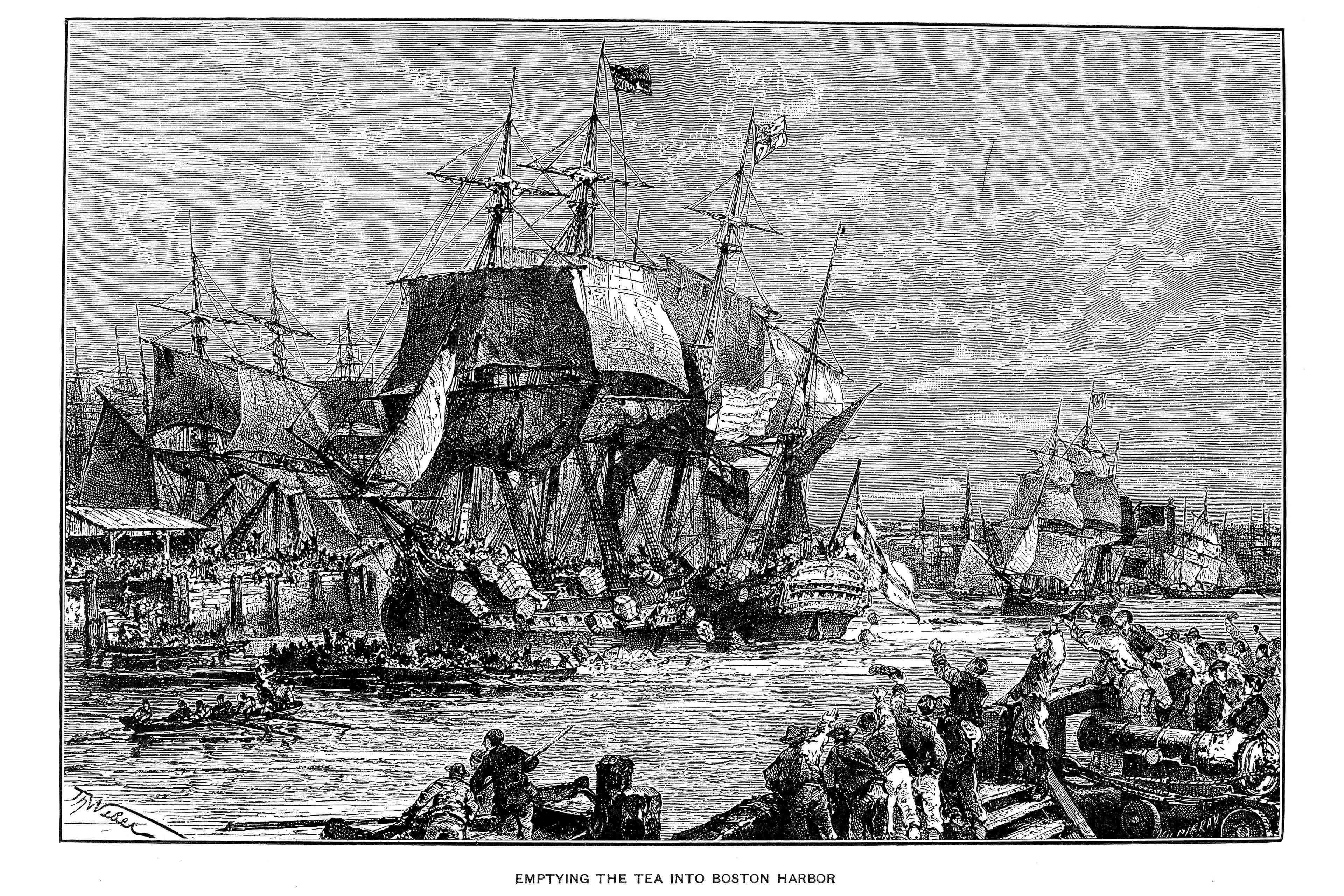 Boston tea party, 1773.