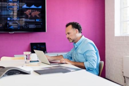 Businessman working presentation office