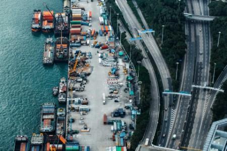 Busy container cargo freight ship terminal