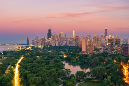 View of Chicago city and Lincoln park