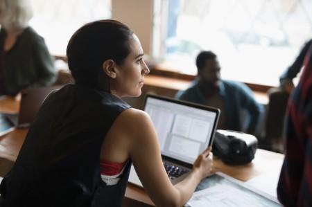 Computer programmer working laptop meeting
