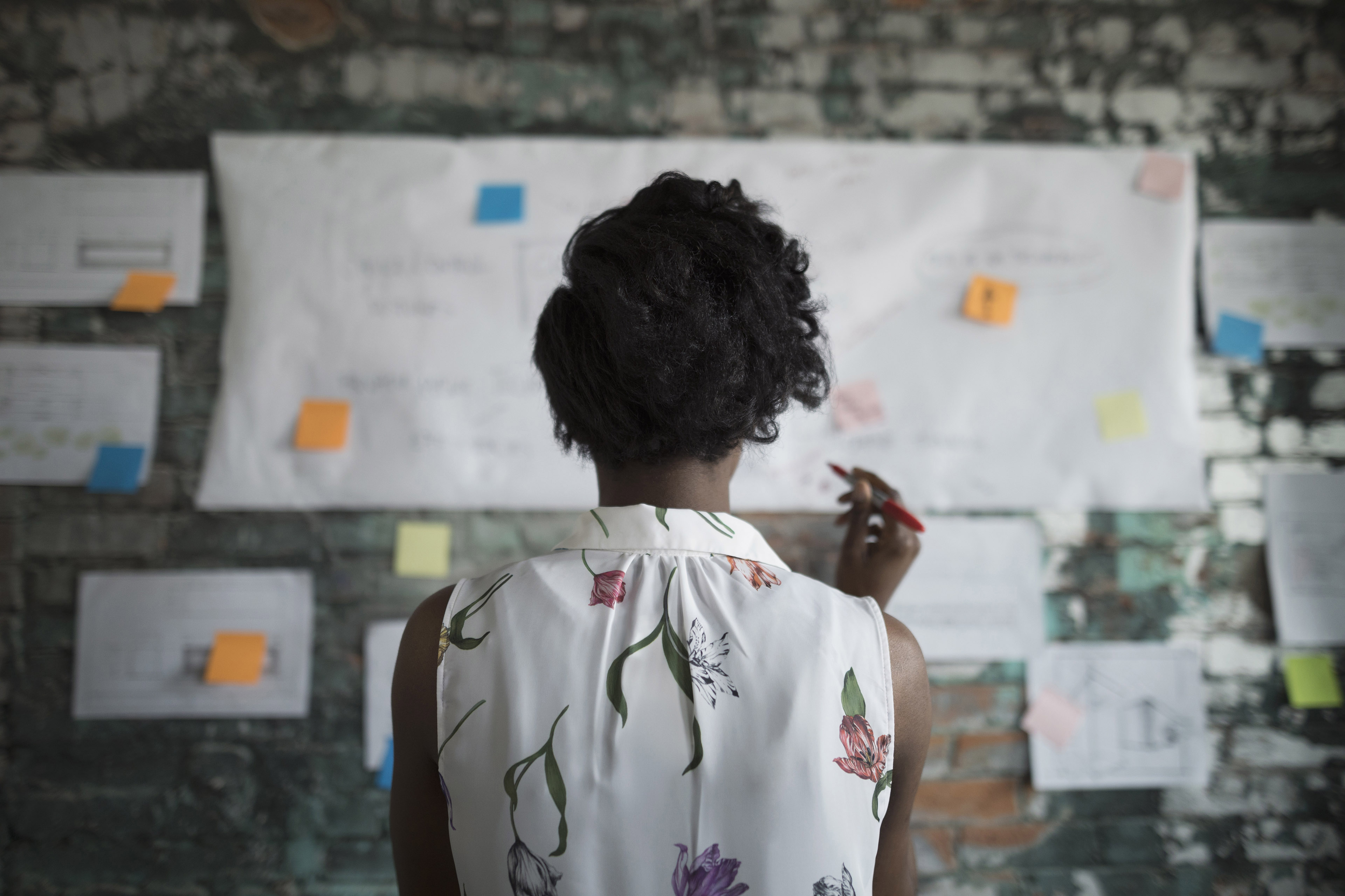 Woman looking at mind map on wall
