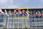 Flags outside an office building