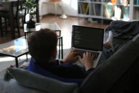 自宅のソファの上で仕事をして、OECDとデジタル経済のコードを書くフリーランス