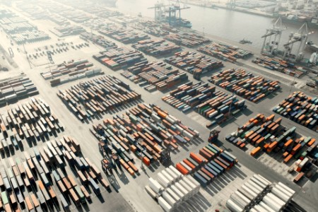 Photographic portrait of freight containers dock