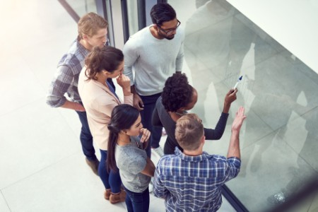 High angle group people planning in office