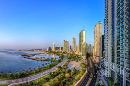 High angle view of Panama city skyline
