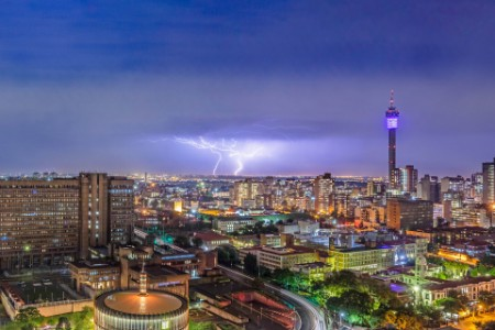 Johannesburg storm and lightning with Hillbrow tower