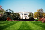 Low angle view of the White House, Washington DC, USA