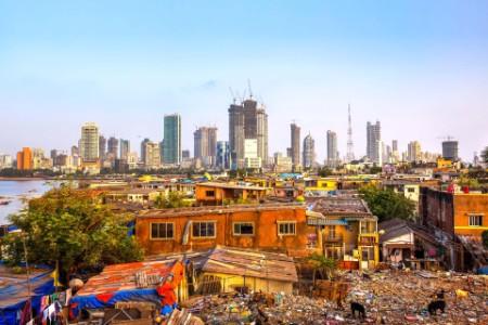 Mumbai cityscape contrast poverty wealth India