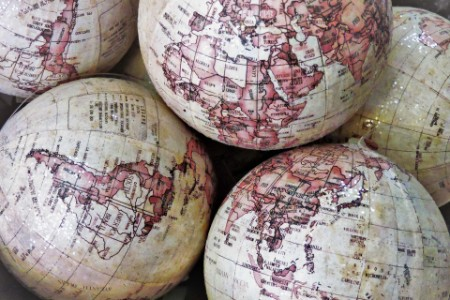 Pile of damaged globes in a shop