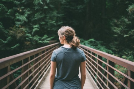 Rear view of women walking on the bridge
