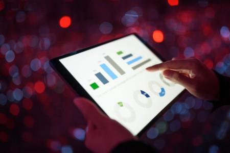 finance report on digital tablet