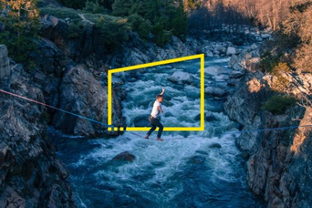 Man highlining river California USA