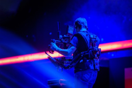 Steadicam man working on stage