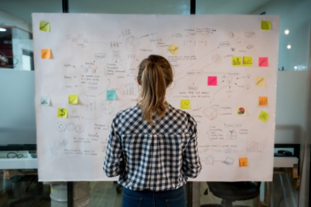Woman sketching business plan on whiteboard