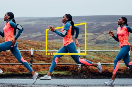 Three images of same runner in track suit on country road