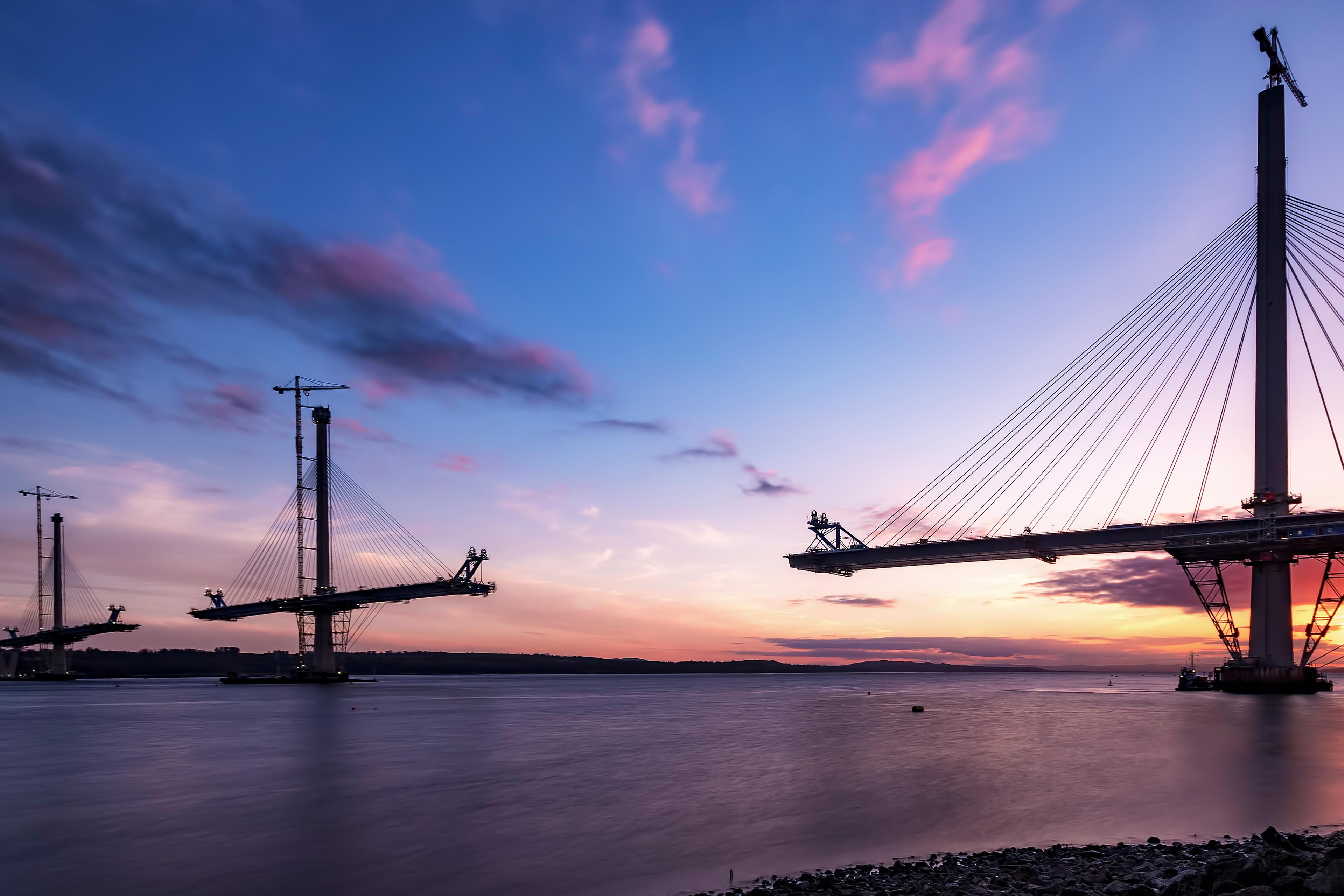 Construction Queensferry Crossing Bridge sunset
