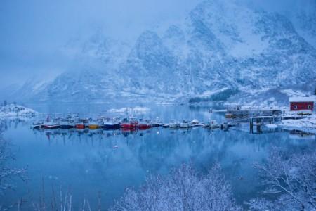 Fishing boats in fjord, Austnesfjorden, Norway
