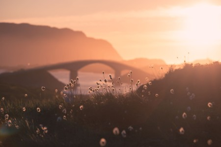 The Fredvang Bridges in the setting sun, Lofoten, Norway